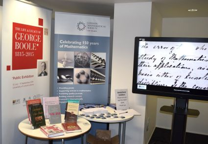 LMS provided partial support for the exhibition. Lincoln Uni Library exhibits books by G. Boole, A.Borovik, E.Khukhro, D.MacHale, et al.