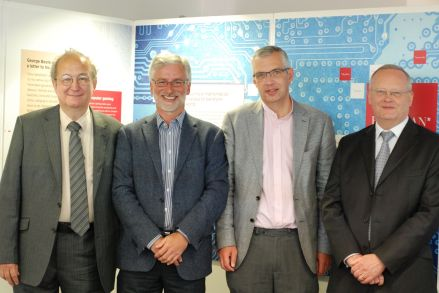 Prof A. Borovik, Trustee of LMS; Univ. Librarian Ian Snowley; Dr Mark Hocknull, Canon Chancellor of Lincoln Cathedral; Prof Scott Davidson, Deputy Vice-Chancellor