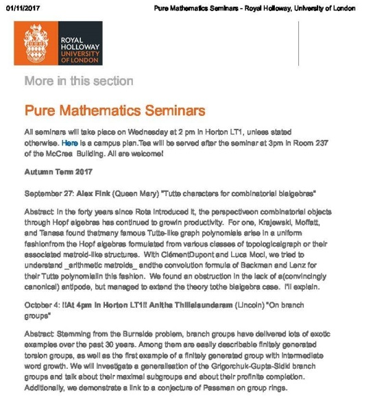 Pure Mathematics Seminars - Royal Holloway, University of London